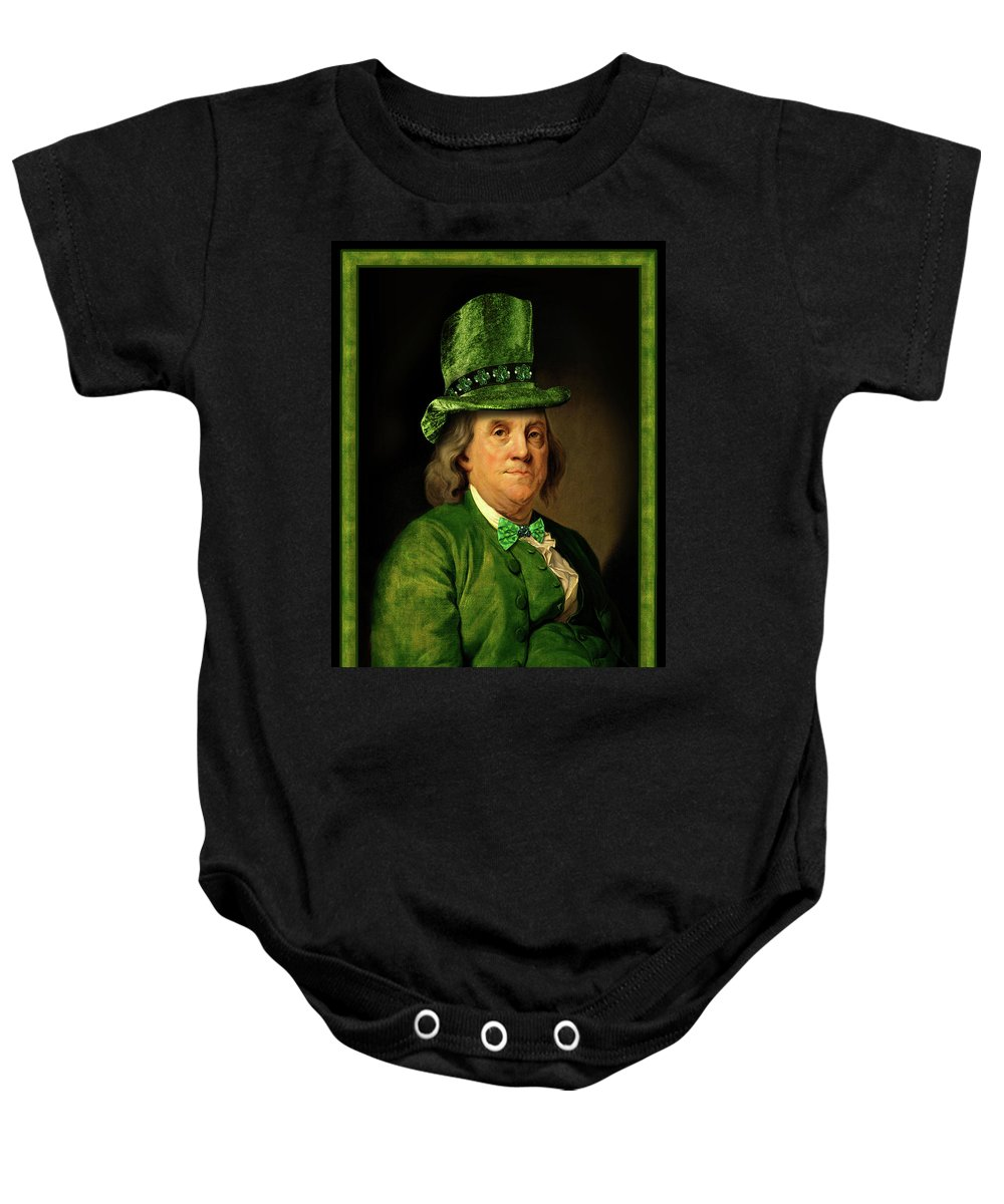 Ben Franklin Baby Onesie featuring the mixed media Lucky Ben Franklin In Green by Gravityx9 Designs