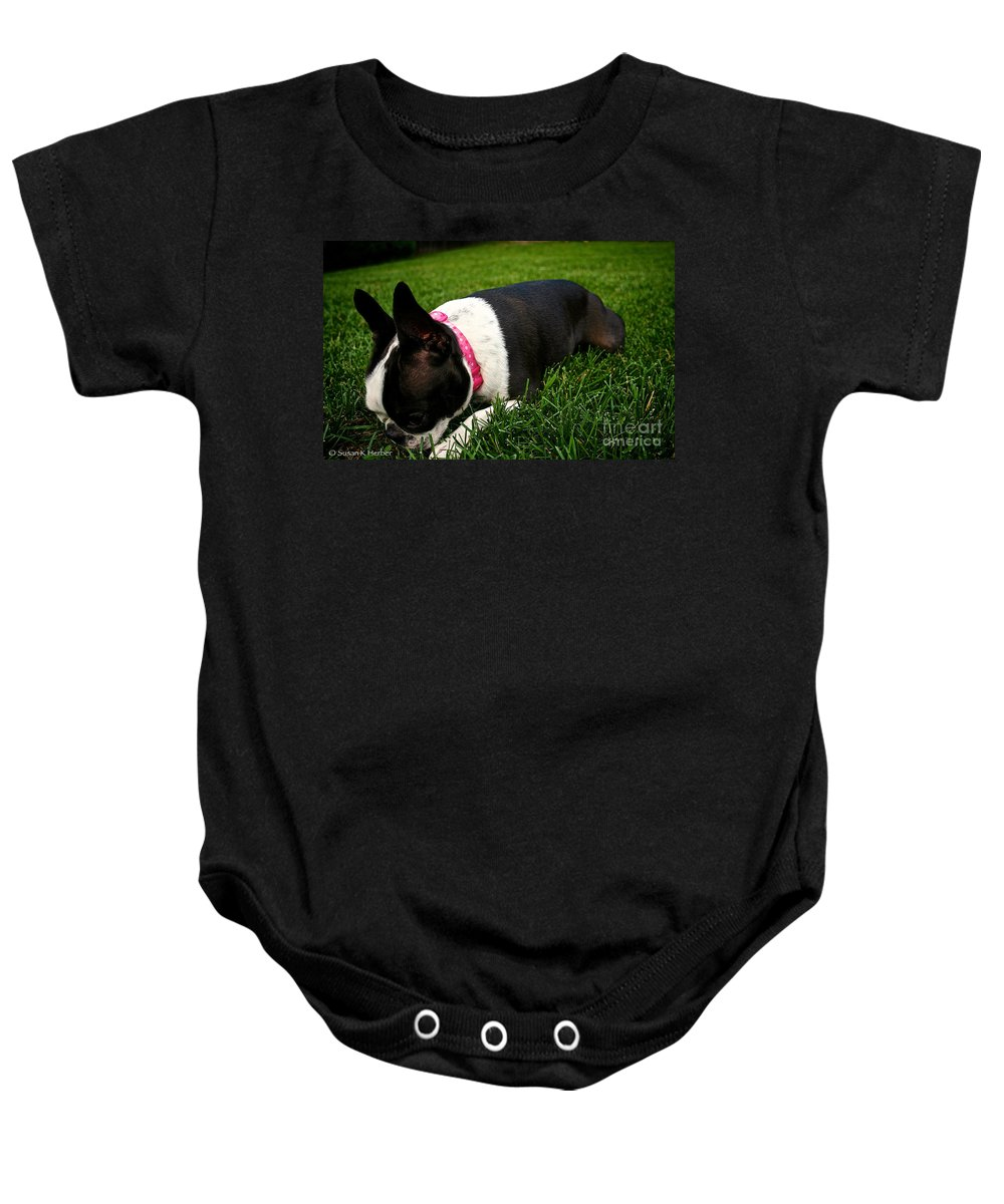 Animal Baby Onesie featuring the photograph Lucky Four Leaf Clover by Susan Herber