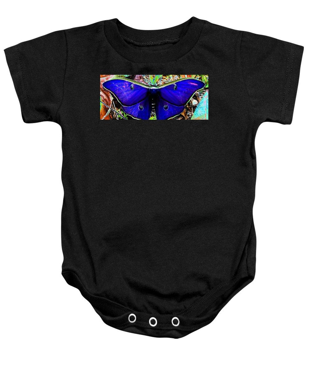 Luna Moth Baby Onesie featuring the photograph Luna Moth Uv Pano by David Lee Thompson
