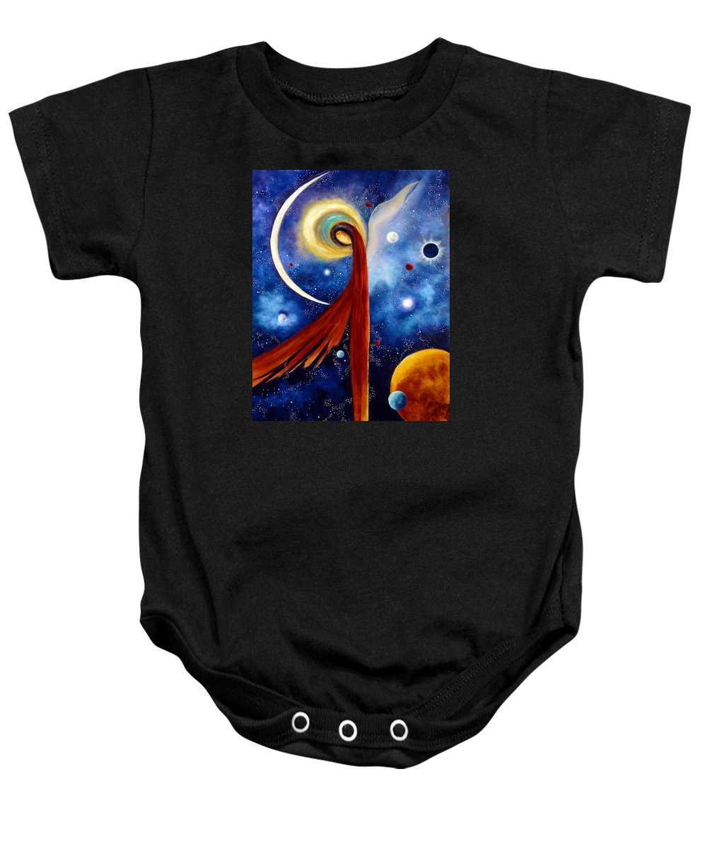 Angel Baby Onesie featuring the painting Lunar Angel by Marina Petro