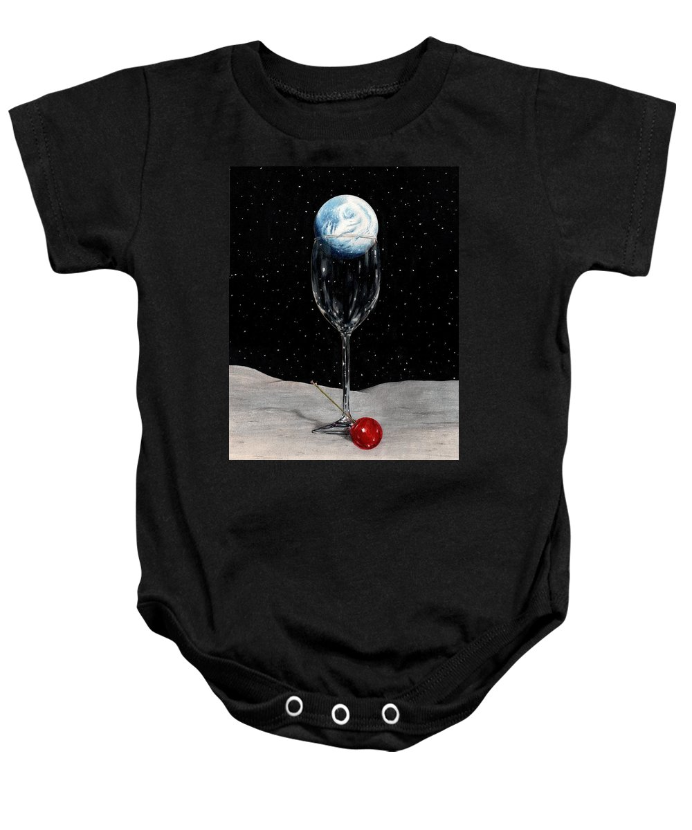 Moon Earth Space Cocktail Glass Art Bruce Lennon Art Baby Onesie featuring the painting Lunar Cocktail by Bruce Lennon
