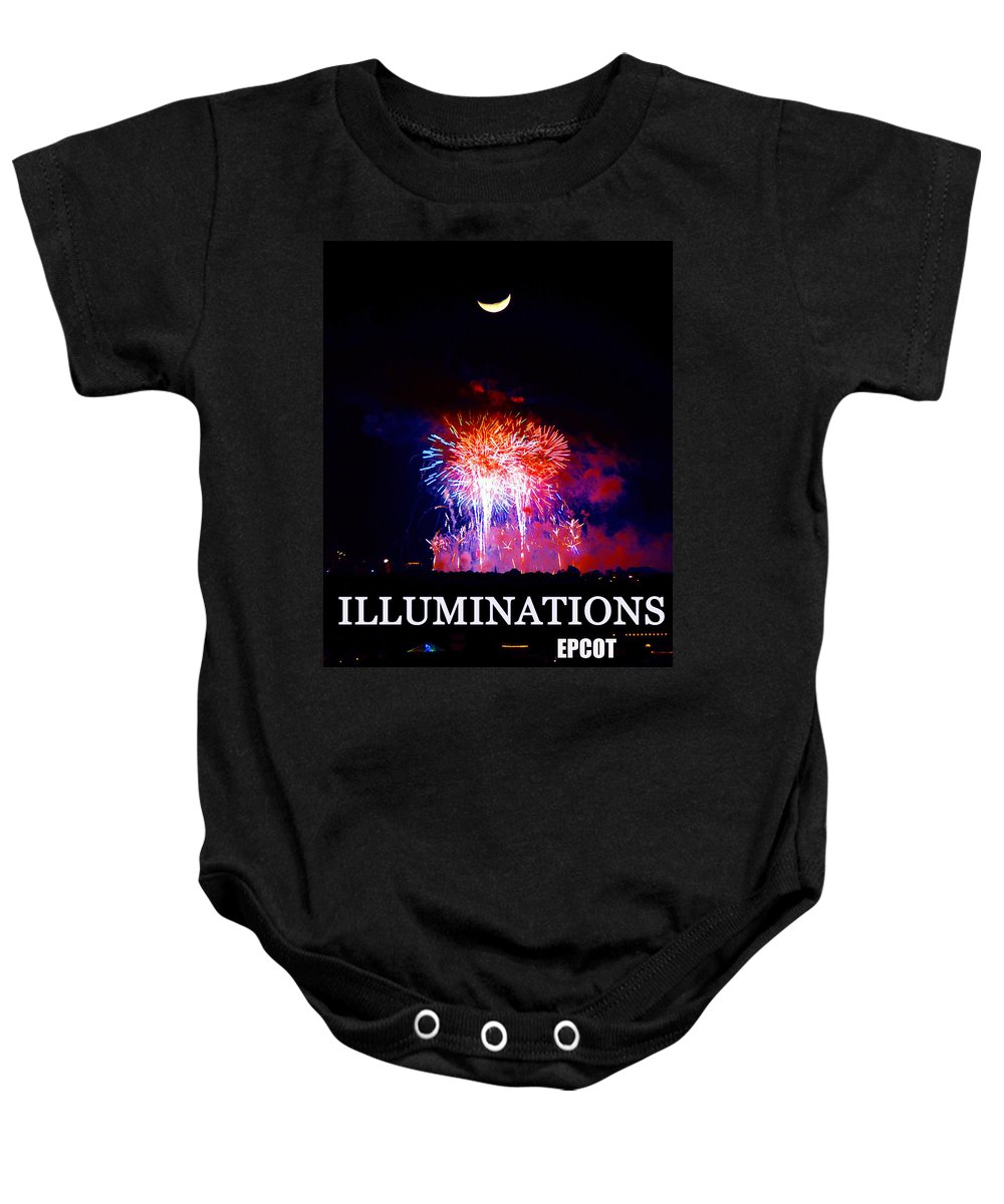 Illumination Baby Onesie featuring the photograph Lunar Illumanations Epcot by David Lee Thompson