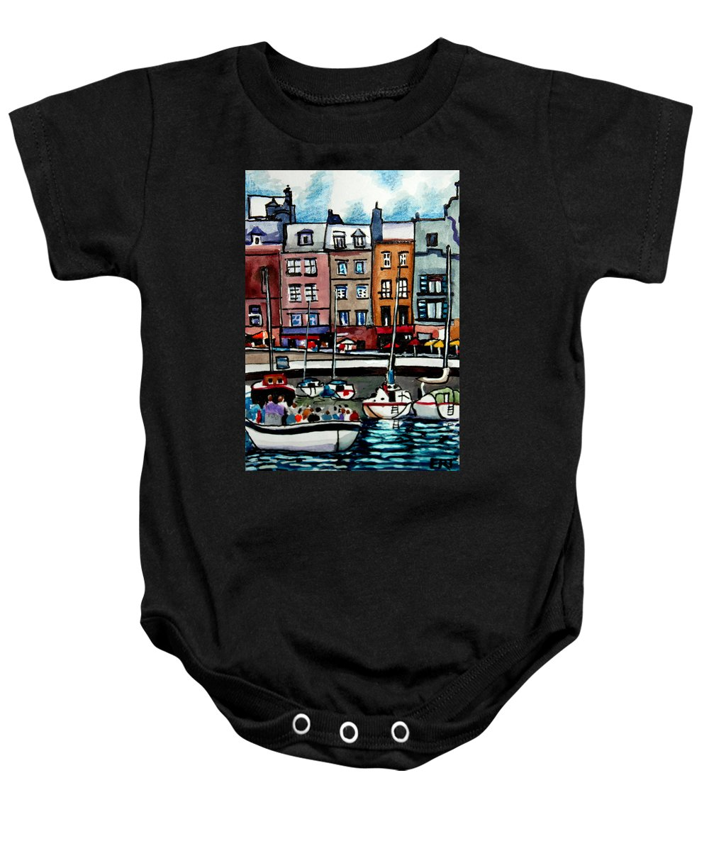 Boat Baby Onesie featuring the painting Lunch At The Harbor by Elizabeth Robinette Tyndall