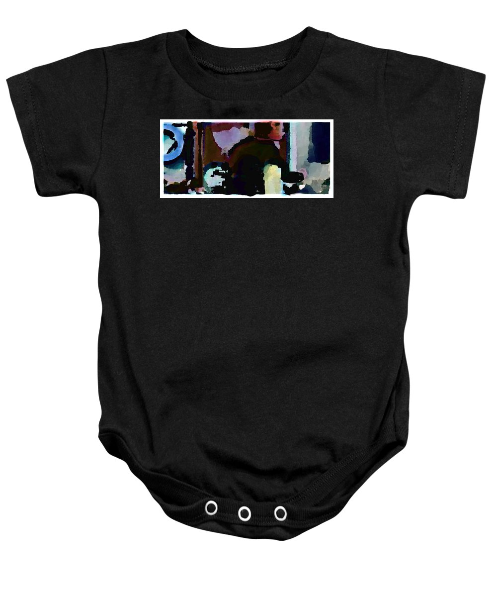 Abstract Expressionism Baby Onesie featuring the painting Lunch Counter by Steve Karol