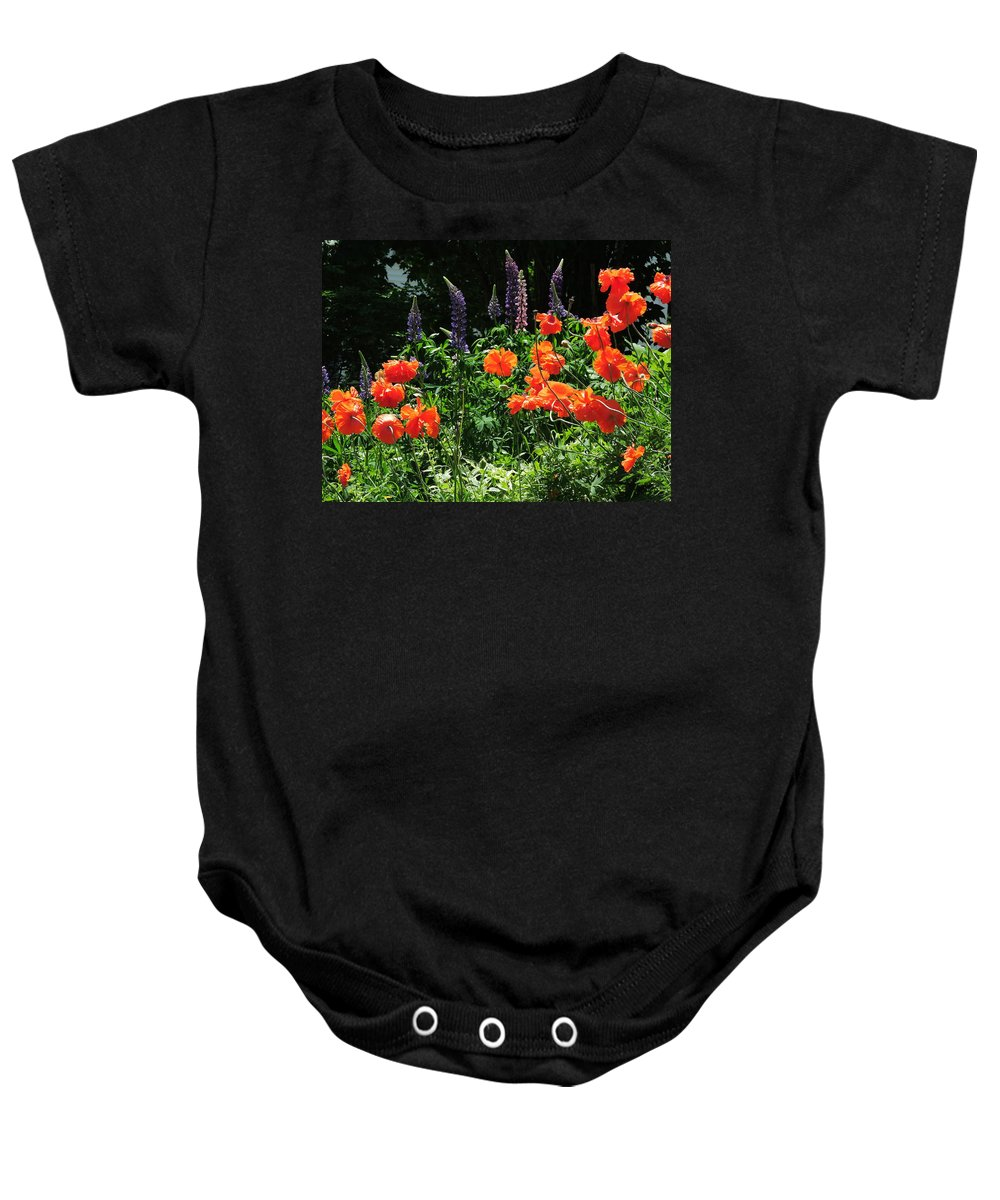 Joyous Baby Onesie featuring the photograph Lupines And Poppies by Bill Tomsa