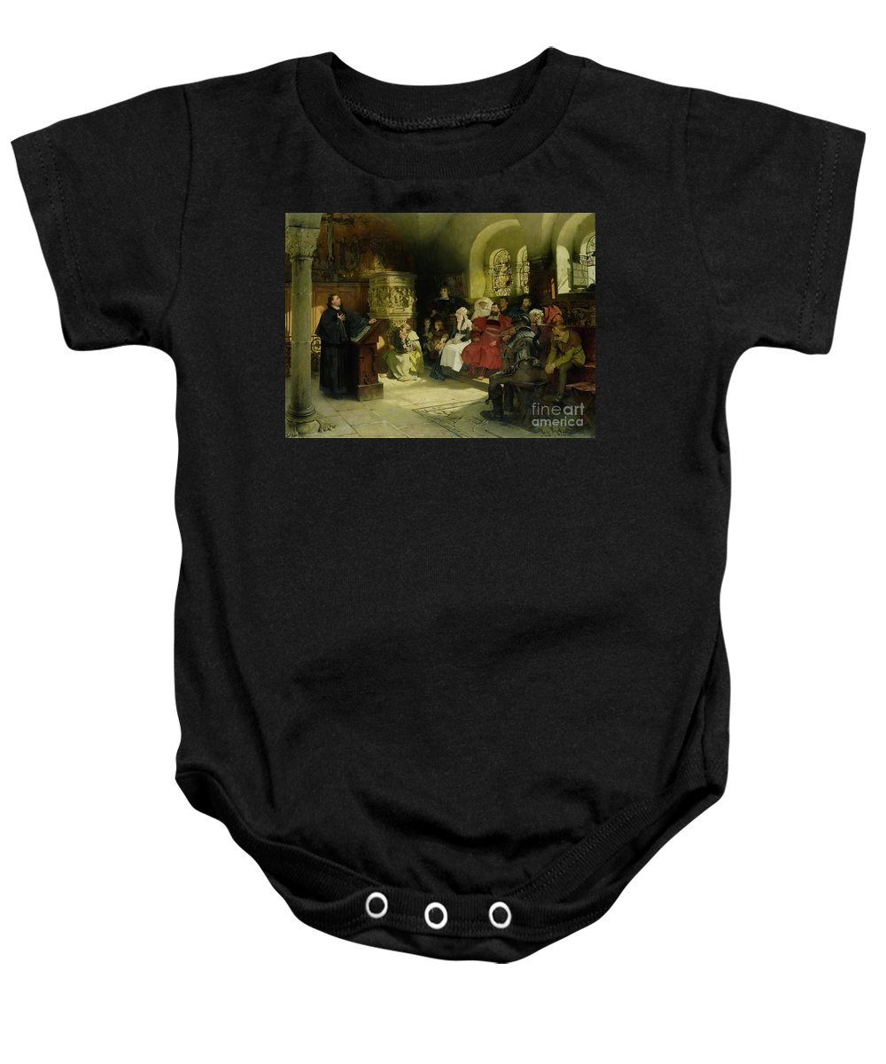 Vogel Baby Onesie featuring the painting Luther Preaches Using His Bible Translation While Imprisoned At Wartburg by Hugo Vogel