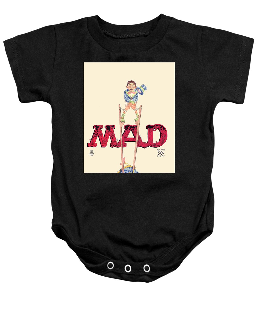 Mad Magazine Baby Onesie featuring the drawing Mad Magazine Cover by William Beyer