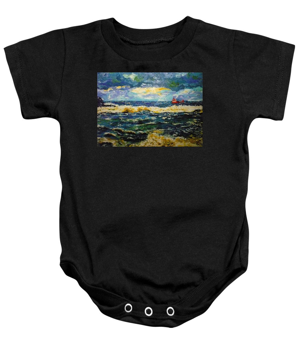 Sea Baby Onesie featuring the painting Mad Sea by Ericka Herazo