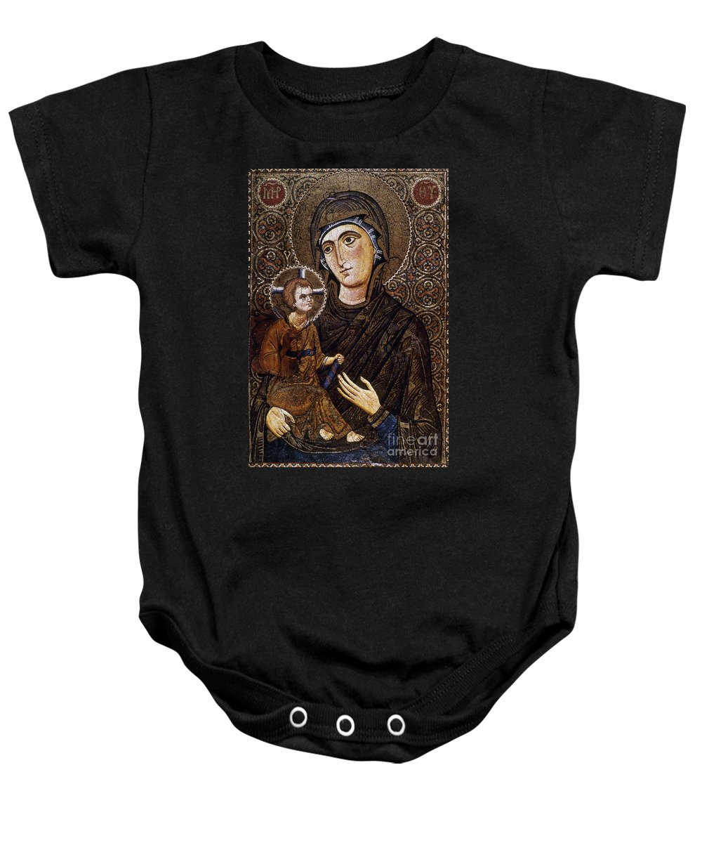 13th Century Baby Onesie featuring the photograph Madonna Icon by Granger