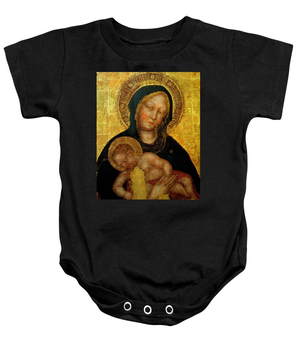 Madonna Baby Onesie featuring the painting Madonna With Child Gentile Da Fabriano 1405 by Fabriano Gentile da