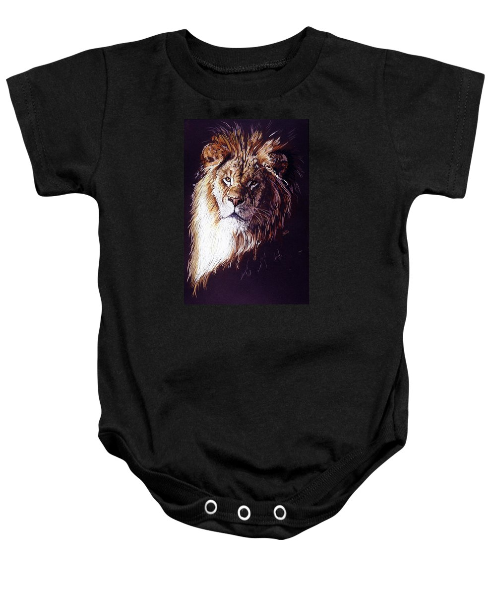 Lion Baby Onesie featuring the drawing Maestro by Barbara Keith