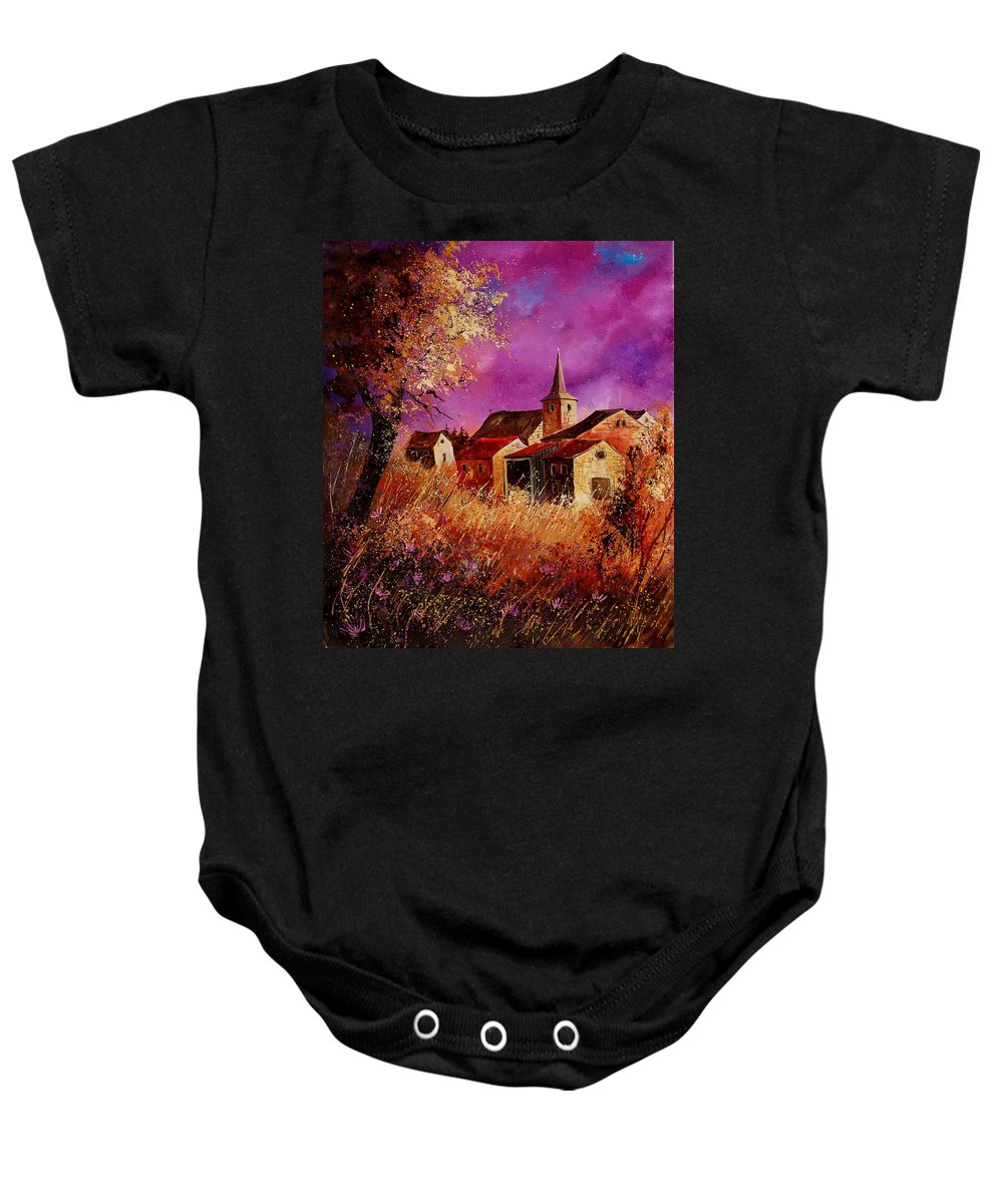 Landscape Baby Onesie featuring the painting Magic Autumn by Pol Ledent