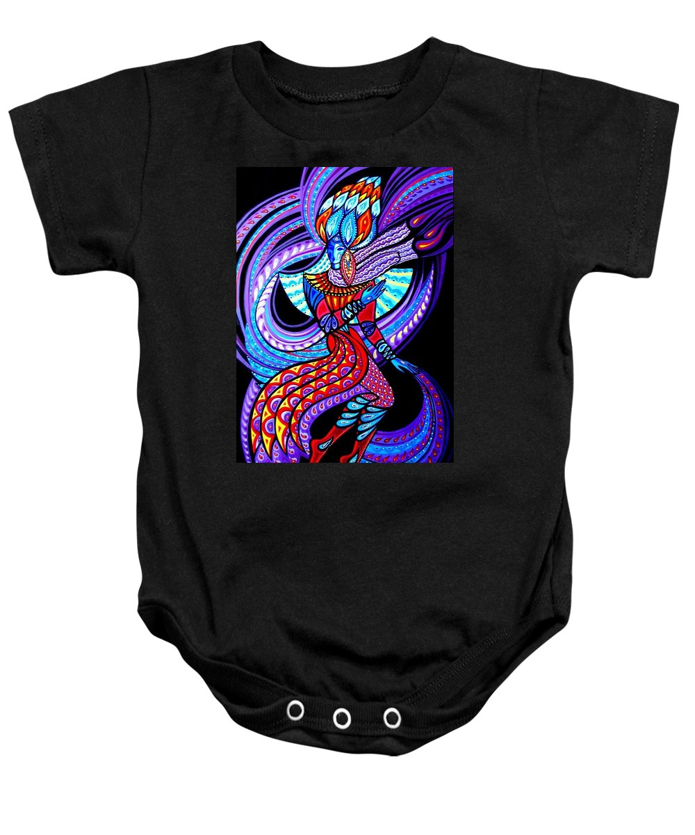 Inga Vereshchagina Baby Onesie featuring the painting Magic Dance In The Void by Inga Vereshchagina