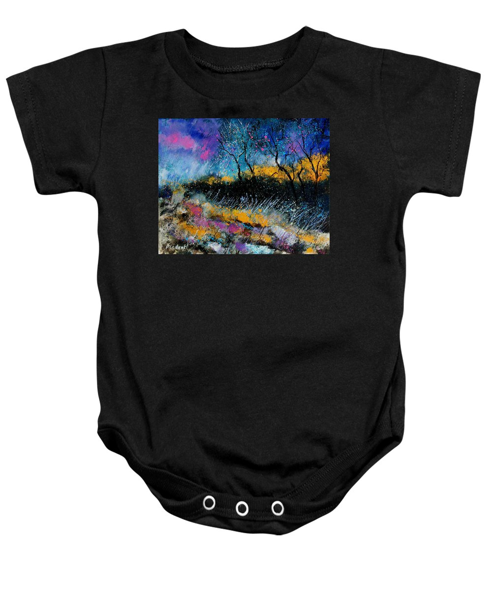 Landscape Baby Onesie featuring the painting Magic Morning Light by Pol Ledent