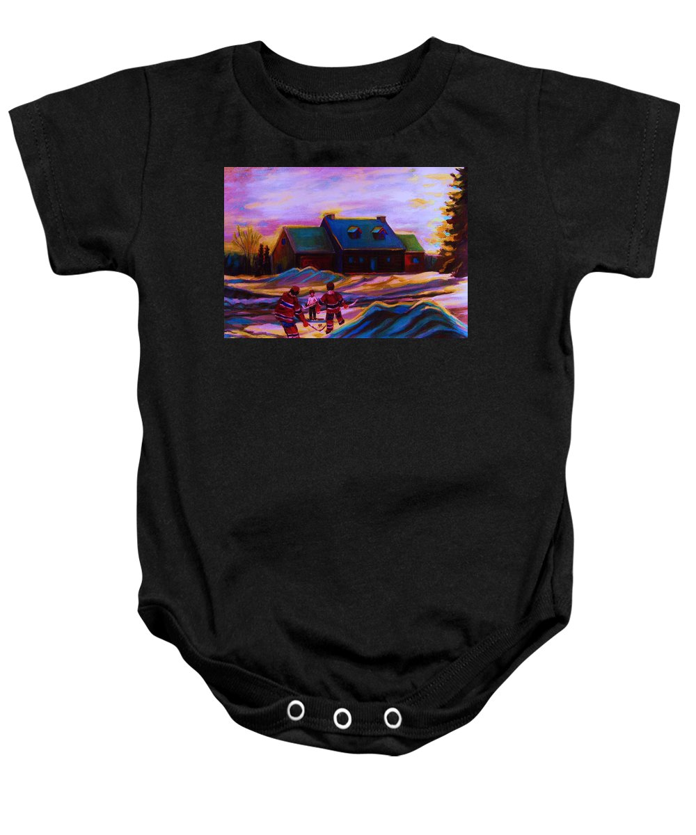 Hockey Baby Onesie featuring the painting Magical Day For Hockey by Carole Spandau
