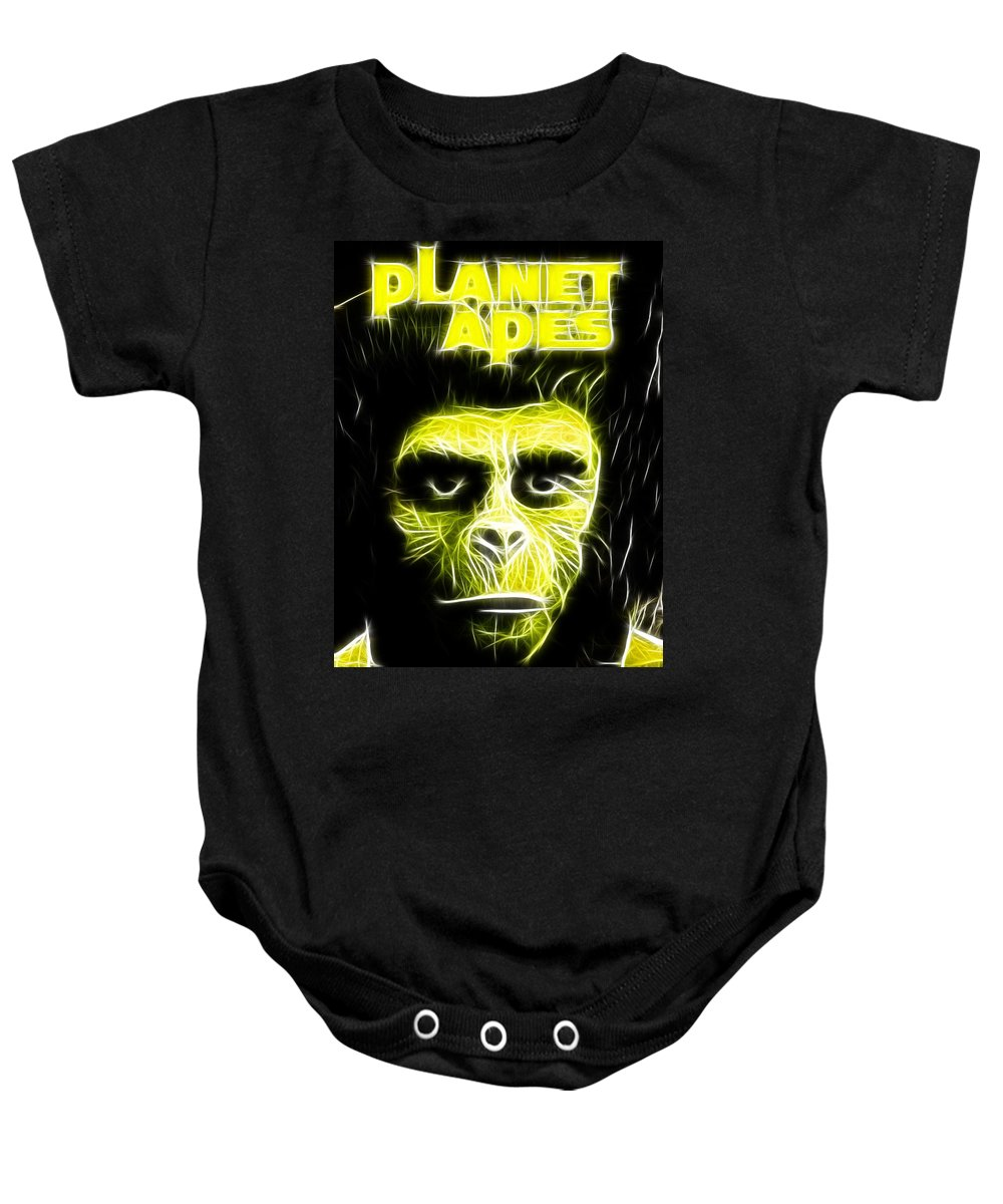 Planet Of The Apes Baby Onesie featuring the painting Magical Planet Of The Apes by Paul Van Scott