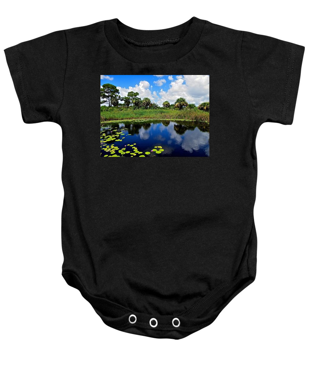 Waterlily Baby Onesie featuring the photograph Magical Water Lily Pond 2 by Joe Wyman