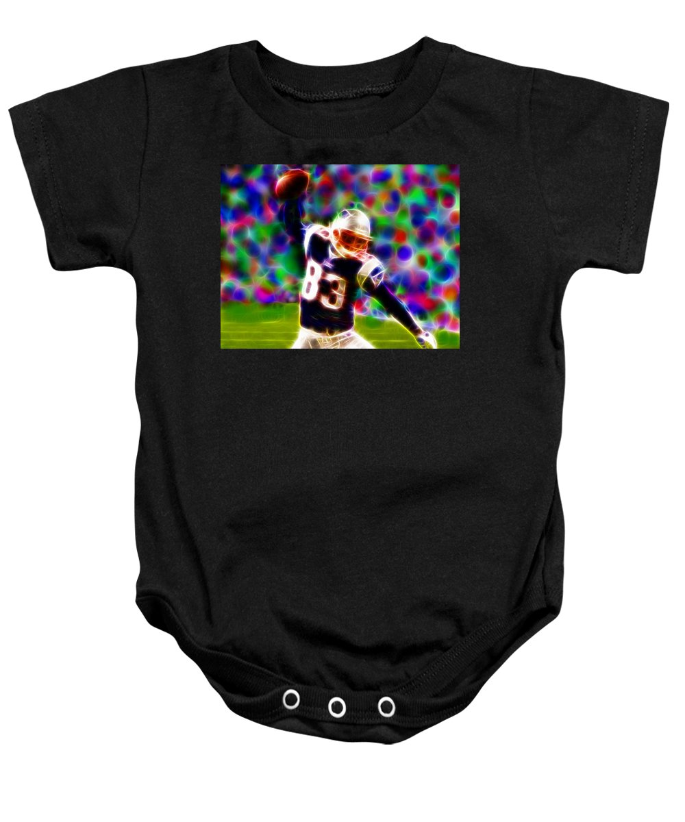 New England Patriots Baby Onesie featuring the painting Magical Wes Welker by Paul Van Scott