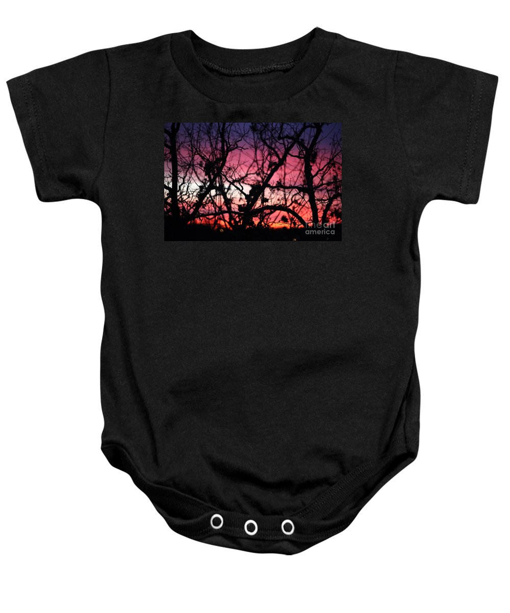Sunset Baby Onesie featuring the photograph Magnificent Sunset And Trees by Nadine Rippelmeyer