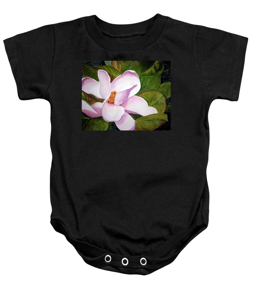 Flower Baby Onesie featuring the painting Magnolia Blossom by Julia RIETZ