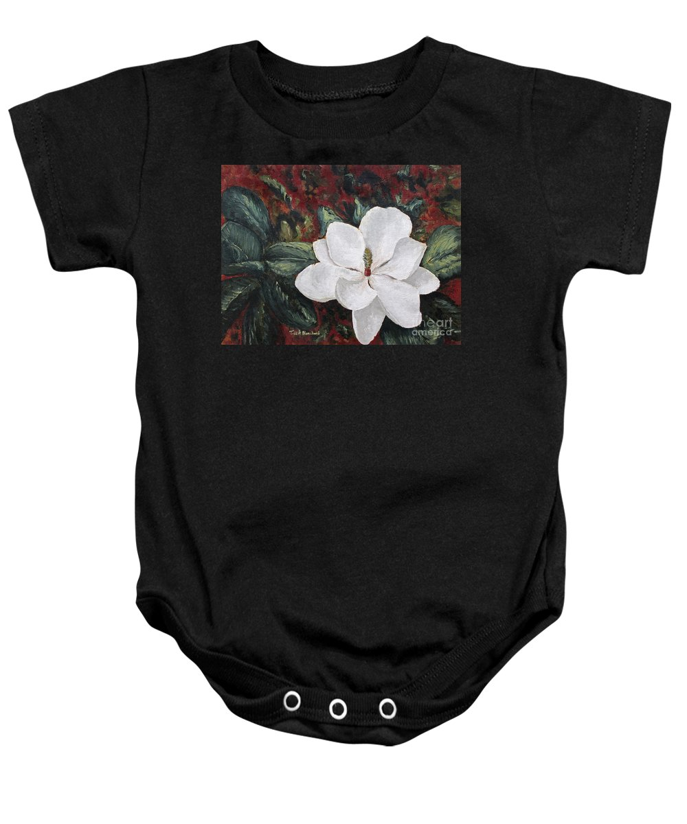 Flower Baby Onesie featuring the painting Magnolia by Todd A Blanchard