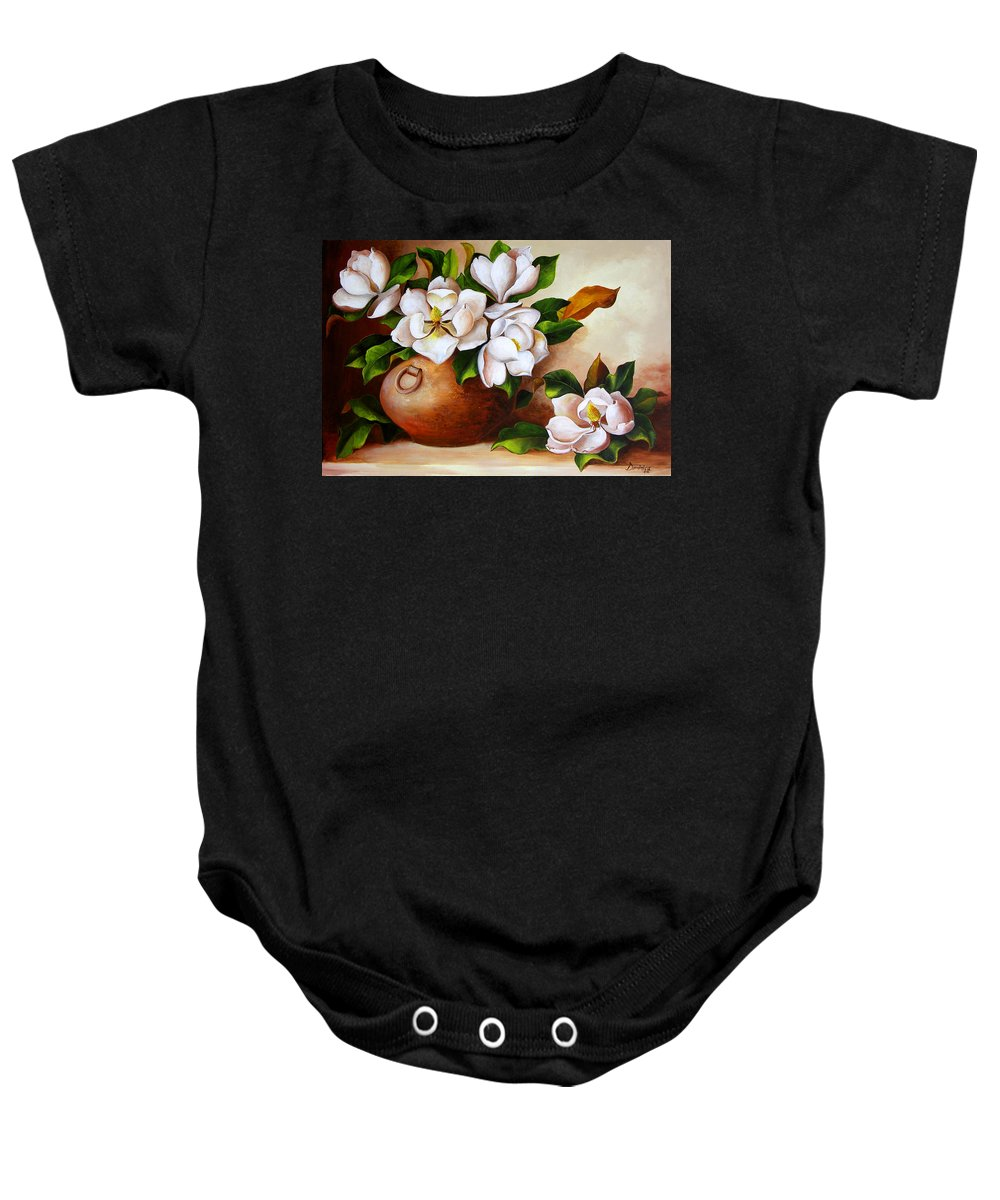Clay Pot Baby Onesie featuring the painting Magnolias In A Clay Pot by Dominica Alcantara