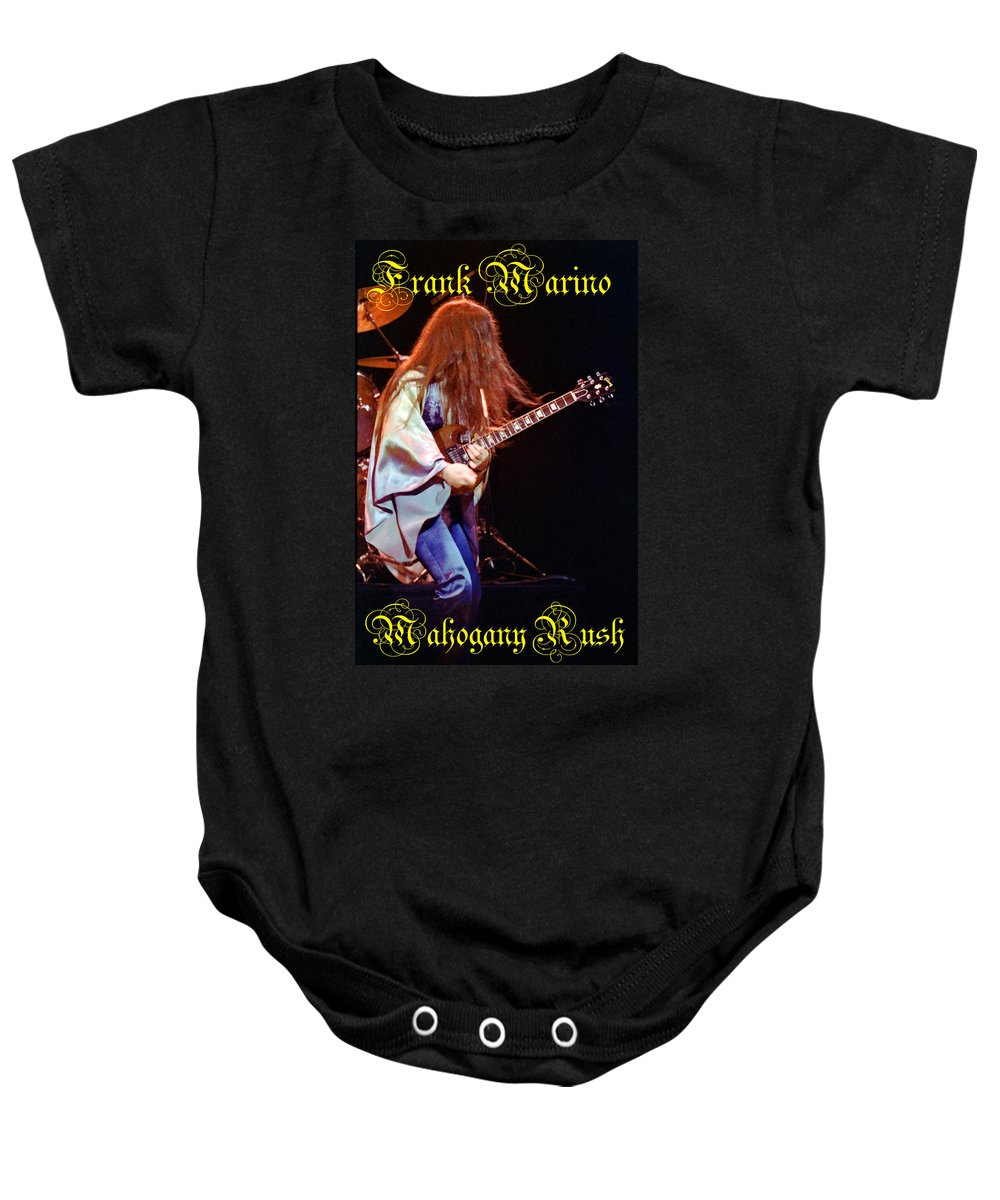 Frank Marino Baby Onesie featuring the photograph Mahogany Rush Seattle #2 With Text by Ben Upham