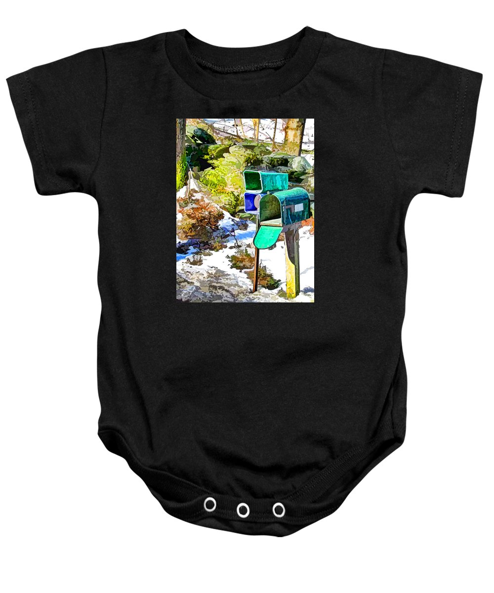 Mailbox Baby Onesie featuring the painting Mailbox by Jeelan Clark