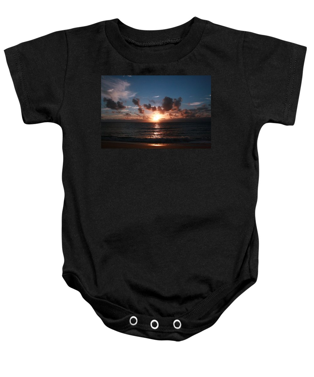 Tropical Sunset Baby Onesie featuring the photograph Ma'ili Sunset by Jennifer Bright