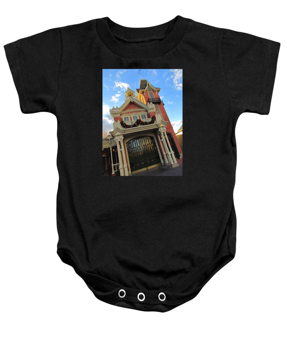 Walt Disney World Baby Onesie featuring the photograph Main Street Usa Fire Department by Stuart Rosenthal