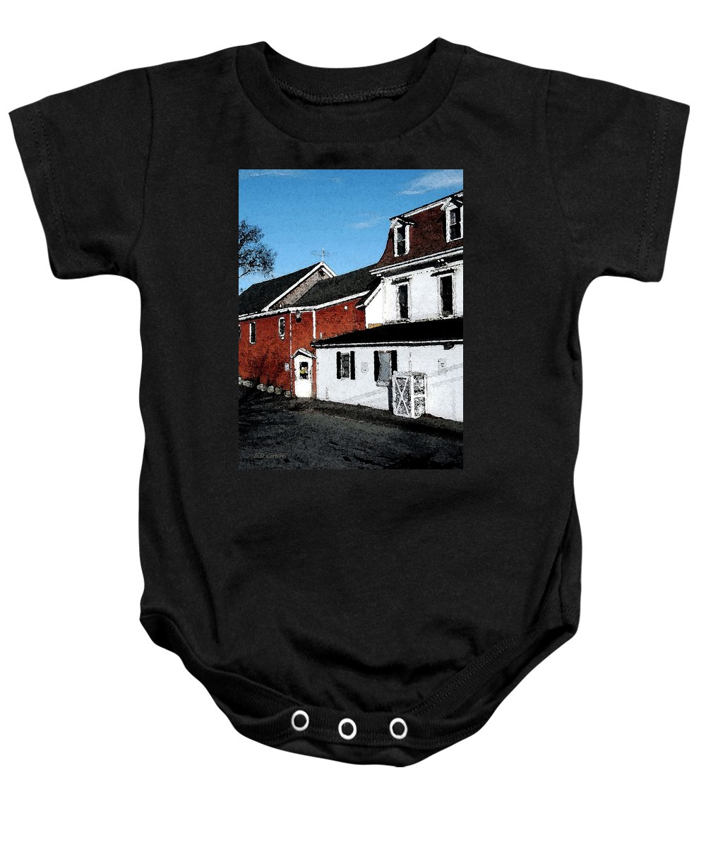 Maine Baby Onesie featuring the photograph Maine Blue Hill Alleyway by Ed A Gage