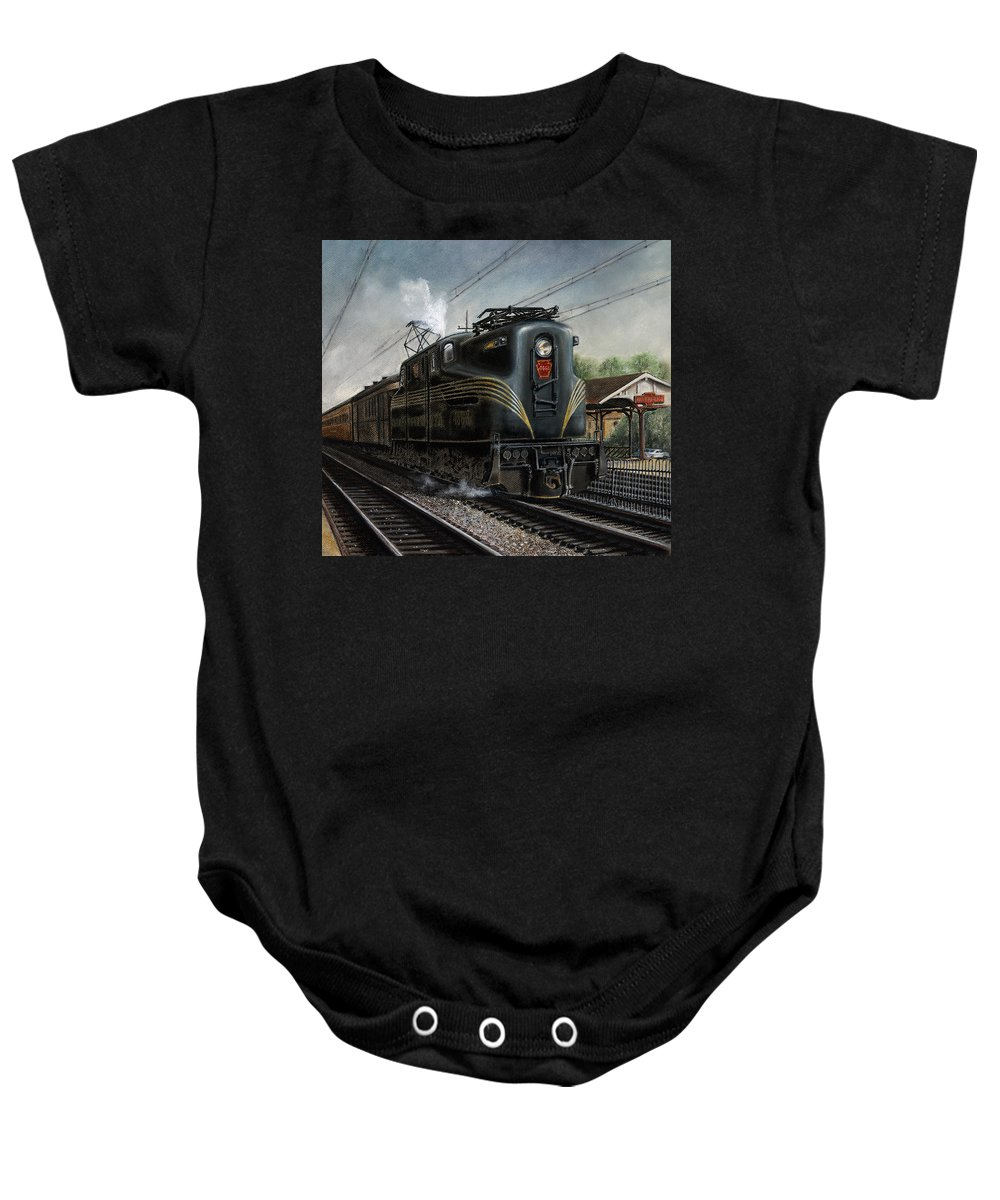 Trains Baby Onesie featuring the painting Mainline Memories by David Mittner
