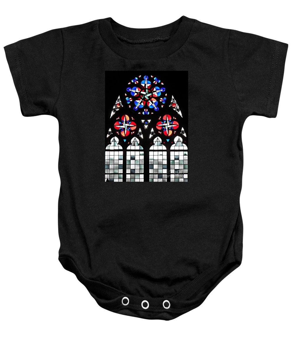 Glass Baby Onesie featuring the photograph Mainz Cathedral Window by Sarah Loft