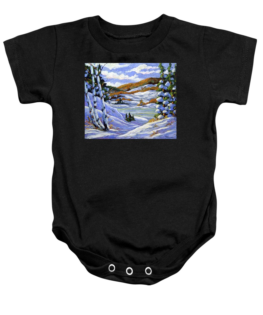 Art Baby Onesie featuring the painting Majestic Winter by Richard T Pranke