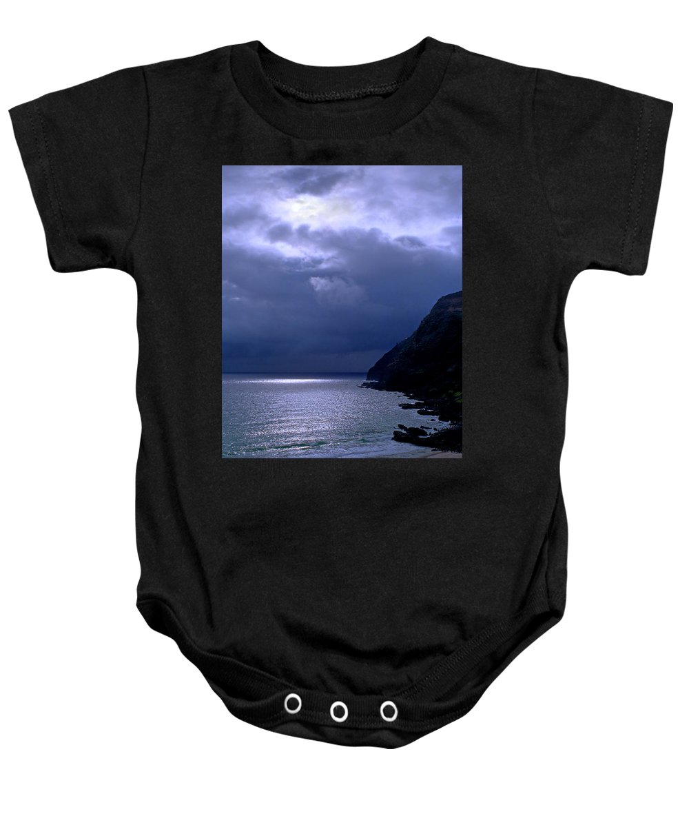 Makapuu Baby Onesie featuring the photograph Makapuu Moon by Kevin Smith