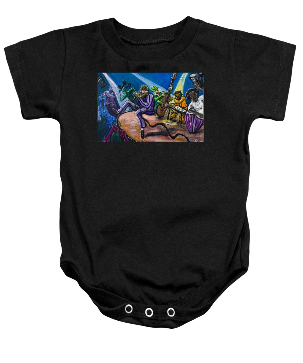 Jazz Music Art Black Musician Baby Onesie featuring the painting Make It Funky by Jason Gluskin