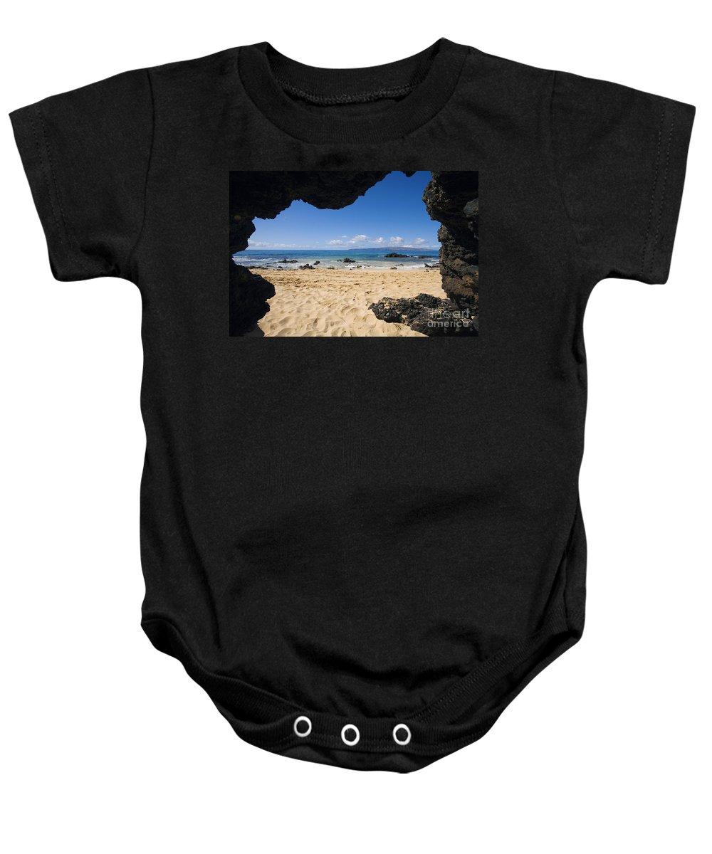 Beach Baby Onesie featuring the photograph Makena View From Secret Beach by Ron Dahlquist - Printscapes