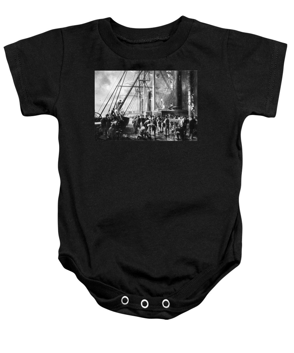 Robert Charles Dudley Making The Splice Between The Shore End And The Ocean Cable Baby Onesie featuring the painting Making The Splice Between The Shore End And The Ocean Cable by Robert Charles Dudley