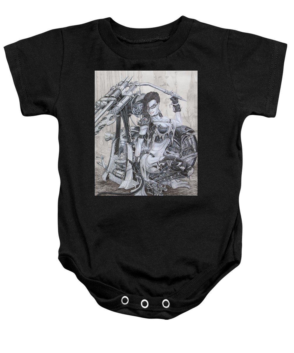 Bike Baby Onesie featuring the drawing Malice by Kristopher VonKaufman