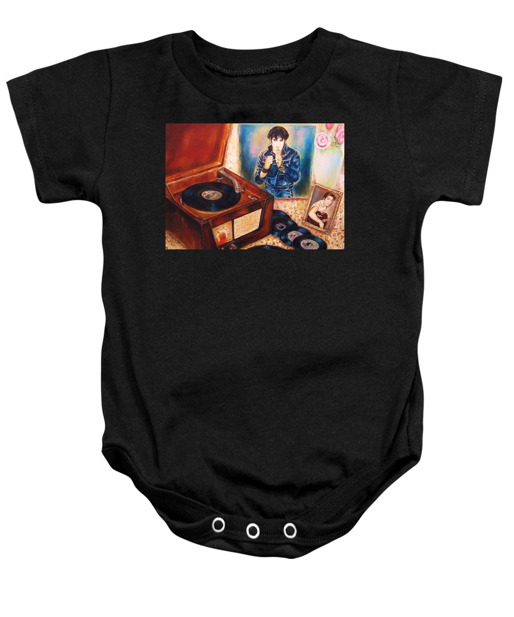 Elvis Baby Onesie featuring the painting Mama Loved The Roses by Carole Spandau