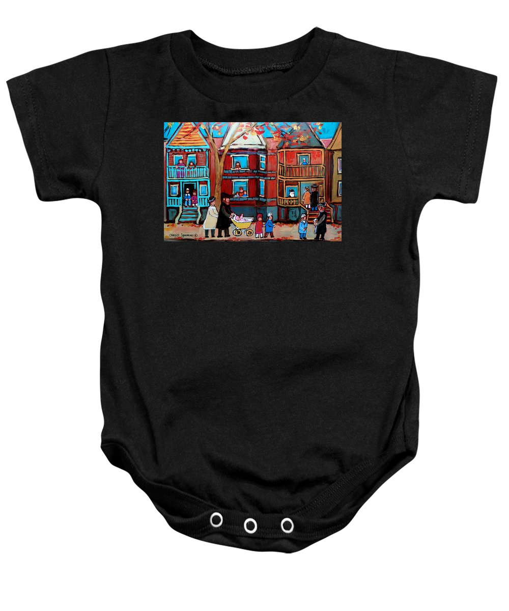 Hassidic Community Baby Onesie featuring the painting Mama Papa And New Baby by Carole Spandau