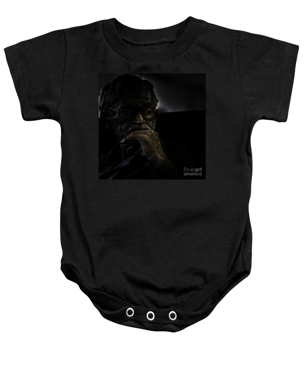 Portrait Baby Onesie featuring the photograph Man On Ferry by Sheila Smart Fine Art Photography
