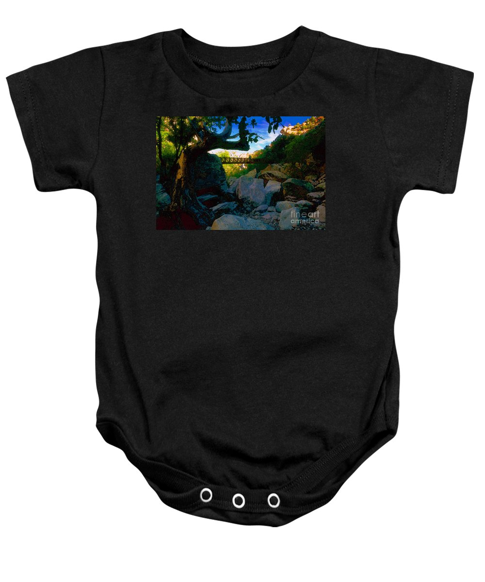 Man Baby Onesie featuring the painting Man On The Bridge by David Lee Thompson