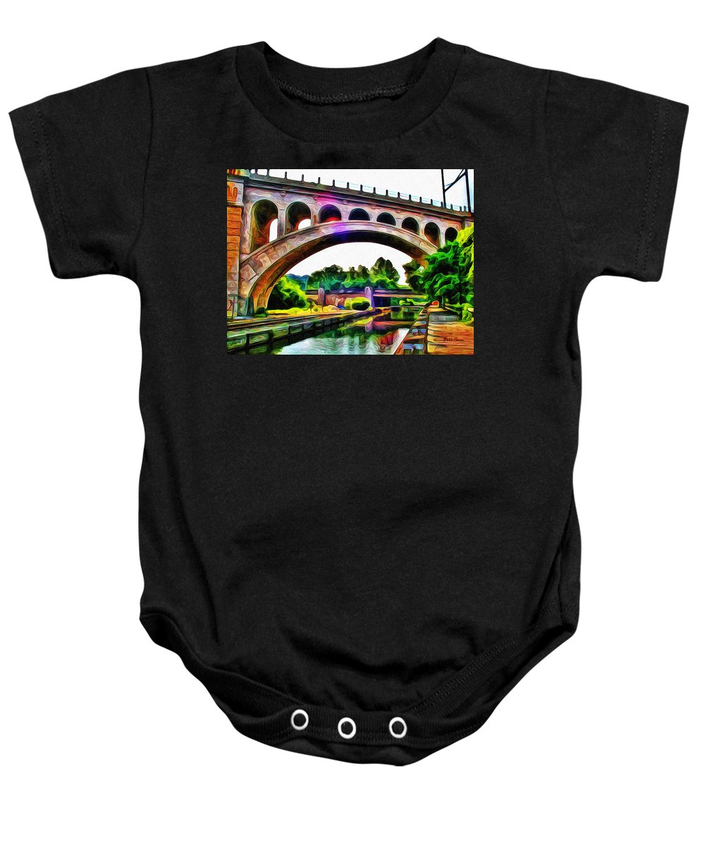 Manayunk Canal And Bridge Baby Onesie featuring the photograph Manayunk Canal And Bridge by Bill Cannon