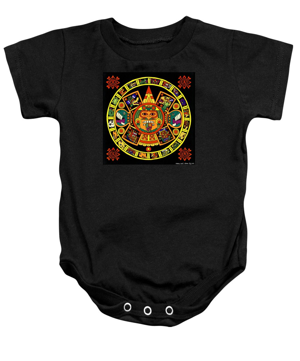 Roberto Baby Onesie featuring the painting Mandala Azteca by Roberto Valdes Sanchez
