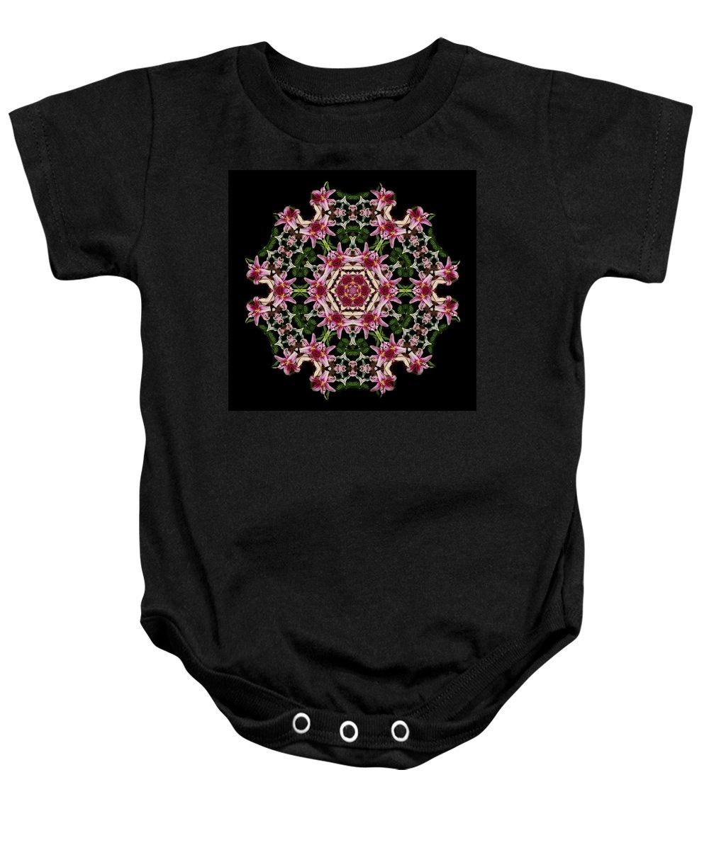 Mandala Baby Onesie featuring the photograph Mandala Monadala Lisa by Nancy Griswold