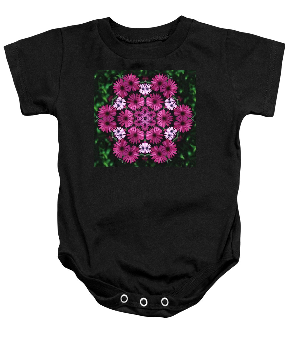 Mandala Baby Onesie featuring the photograph Mandala Mum Rosas by Nancy Griswold