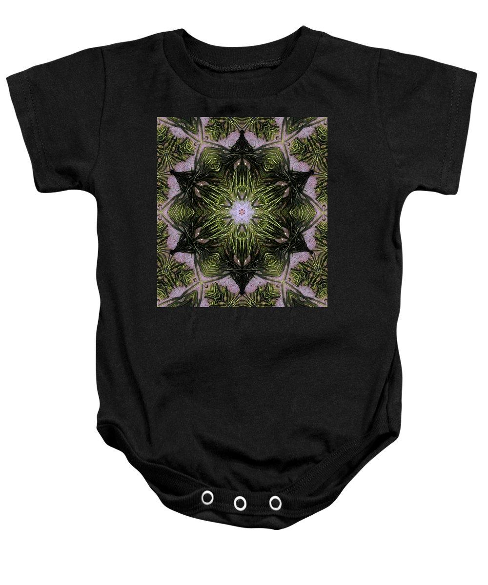 Mandala Baby Onesie featuring the digital art Mandala Sea Sponge by Nancy Griswold