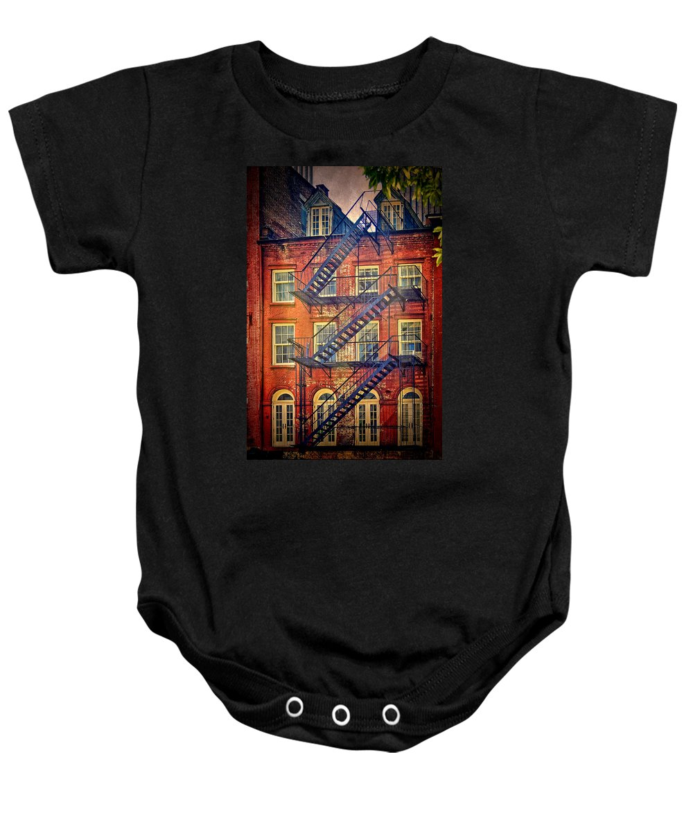 New York City Baby Onesie featuring the photograph Manhattan Facade by Claude LeTien