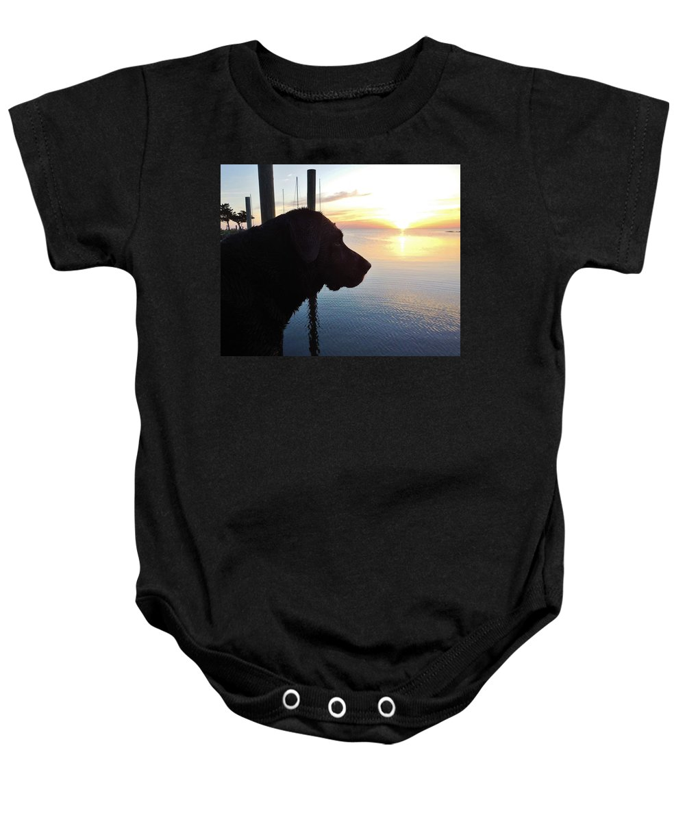 Mark Lemmon Cape Hatteras Nc The Outer Banks Photographer Subjects From Sunrise Baby Onesie featuring the photograph Mans Best Friend Sunset 3 411 by Mark Lemmon
